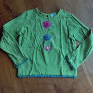 Hannah Andersson heavy shirt with floral appliques